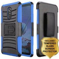 *SALE* Advanced Armor Hybrid Kickstand Case with Holster and Tempered Glass Screen Protector for LG Stylo 4 - Blue