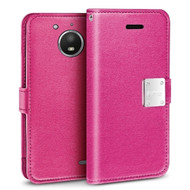 *SALE* Essential Leather Wallet Case for Motorola Moto E4 Plus - Hot Pink
