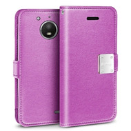 *SALE* Essential Leather Wallet Case for Motorola Moto E4 Plus - Purple