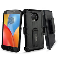 *SALE* Heavy Duty Dual Layer Hybrid Armor Case with Holster for Motorola Moto E4 Plus - Black