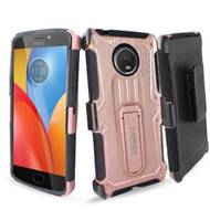 *SALE* Heavy Duty Dual Layer Hybrid Armor Case with Holster for Motorola Moto E4 Plus - Rose Gold