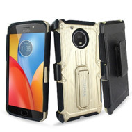 *SALE* Heavy Duty Dual Layer Hybrid Armor Case with Holster for Motorola Moto E4 Plus - Gold
