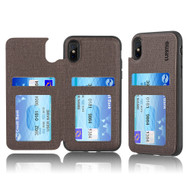 Hybrid Wallet Case with 3 Card Compartment for iPhone XS / X - Brown