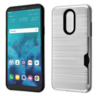 ID Card Slot Hybrid Case for LG Stylo 4 / Stylo 4 Plus - Silver