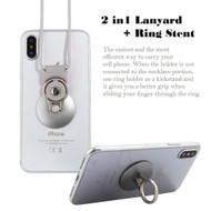 2-IN-1 Smart Loop Universal Smartphone Holder & Stand with Lanyard - Silver