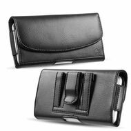 Horizontal Synthetic Leather Pouch Case - Black