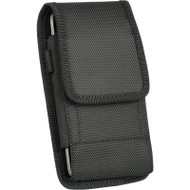 Universal Ballistic Nylon Vertical Hip Pouch Case with Carabiner Clip - Black