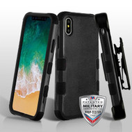 Military Grade Certified TUFF Hybrid Armor Case with Holster for iPhone XS / X - Black