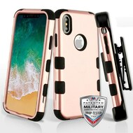 Military Grade Certified TUFF Hybrid Armor Case with Holster for iPhone XS / X - Rose Gold 059