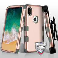 Military Grade Certified TUFF Hybrid Armor Case with Holster for iPhone XS / X - Rose Gold Iron Grey