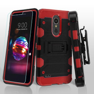 Military Grade Certified Storm Tank Case + Holster + Tempered Glass for LG K30 / Harmony 2 / Premier Pro - Black Red