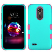 Military Grade Certified TUFF Hybrid Armor Case for LG K30 - Teal Green Electric Pink