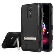 Military Grade Certified TUFF Hybrid Armor Case with Stand for LG K30 / Harmony 2 / Phoenix Plus / Premier Pro - Black