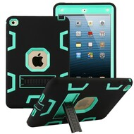 Shock Absorption Heavy Duty Rugged Hybrid Armor Case with Kickstand for iPad Mini 4 - Black Teal