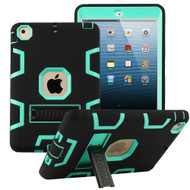 Shock Absorption Heavy Duty Rugged Hybrid Armor Case with Kickstand for iPad Mini 1 / 2 / 3rd Generation - Black Teal