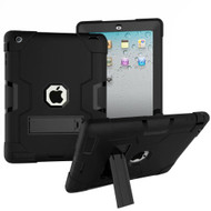 Shock Absorption Heavy Duty Rugged Hybrid Armor Case with Kickstand for iPad (2nd, 3rd and 4th Generation) - Black