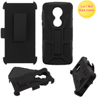 *Sale* Rugged Hybrid Armor Case and Holster for Motorola Moto E5 Plus  - Black
