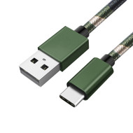Camouflage Leather Wrap USB-C (Type-C) Charge and Sync Cable - Green