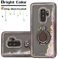 Electroplating Quicksand Glitter Case with Smart Loop Ring Holder for Samsung Galaxy S9 Plus - Black Silver
