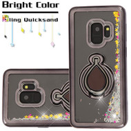 Electroplating Quicksand Glitter Case with Smart Loop Ring Holder for Samsung Galaxy S9 - Black Silver