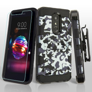 Military Grade Storm Tank Case with Holster and Tempered Glass for LG K30 / Harmony 2 / Premier Pro - Urban Camouflage