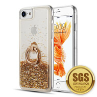 Quicksand Glitter Case with Smart Loop Ring Holder for iPhone 8 / 7 / 6S / 6 - Gold