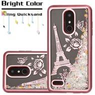 Electroplating Quicksand Glitter Transparent Case for LG K30 / Harmony 2 / Premier Pro - Eiffel Tower Rose Gold