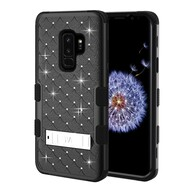 Military Grade Certified TUFF Diamond Hybrid Armor Case with Stand for Samsung Galaxy S9 Plus - Black