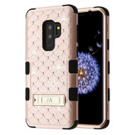 Military Grade Certified TUFF Diamond Hybrid Armor Case with Stand for Samsung Galaxy S9 Plus - Rose Gold
