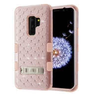 Military Grade Certified TUFF Diamond Hybrid Armor Case with Stand for Samsung Galaxy S9 Plus - Rose Gold 403