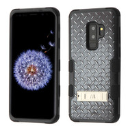 Military Grade Certified TUFF Image Hybrid Armor Case with Stand for Samsung Galaxy S9 Plus - Diamond Plate