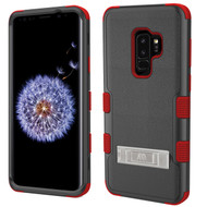 Military Grade Certified TUFF Hybrid Armor Case with Stand for Samsung Galaxy S9 Plus - Black Red