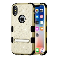 Military Grade Certified TUFF Diamond Hybrid Armor Case with Stand for iPhone XS / X - Gold