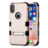 Military Grade Certified TUFF Diamond Hybrid Armor Case with Stand for iPhone XS / X - Rose Gold
