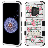 Military Grade Certified TUFF Hybrid Armor Image Case with Stand for Samsung Galaxy S9 - Pink Fresh Roses