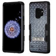 Military Grade Certified TUFF Hybrid Armor Image Case with Stand for Samsung Galaxy S9 - Diamond Plate