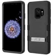 Military Grade Certified TUFF Hybrid Armor Case with Stand for Samsung Galaxy S9 - Black