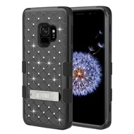 Military Grade Certified TUFF Diamond Hybrid Armor Case with Stand for Samsung Galaxy S9 - Black
