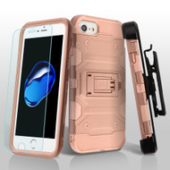 Military Grade Storm Tank Case + Holster + Tempered Glass Screen Protector for iPhone 8 / 7 / 6S / 6 - Rose Gold 014
