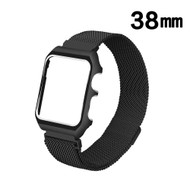 *Sale* 2-IN-1 Aluminum Bumper Case and Magnetic Stainless Steel Mesh Watch Band for Apple Watch 38mm - Black