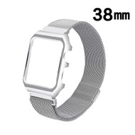 2-IN-1 Aluminum Bumper Case and Magnetic Stainless Steel Mesh Watch Band for Apple Watch 38mm - Silver