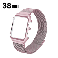 2-IN-1 Aluminum Bumper Case and Magnetic Stainless Steel Mesh Watch Band for Apple Watch 38mm - Rose Gold