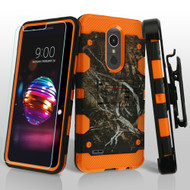 *SALE* Military Grade Certified Storm Tank Hybrid Case + Holster + Tempered Glass for LG K30 - Tree Camouflage Orange