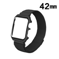 2-IN-1 Aluminum Bumper Case and Magnetic Stainless Steel Mesh Watch Band for Apple Watch 42mm - Black