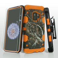 Military Grade Certified Storm Tank Case + Holster + Screen Protector for Samsung Galaxy S9 - Tree Camouflage Orange