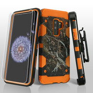 *SALE* Military Grade Storm Tank Case + Holster + Screen Protector for Samsung Galaxy S9 Plus - Tree Camouflage Orange