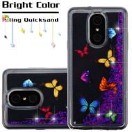 Quicksand Glitter Transparent Case for LG Stylo 4 - Butterfly Dancing