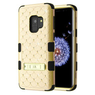 Military Grade Certified TUFF Diamond Hybrid Armor Case with Stand for Samsung Galaxy S9 - Gold