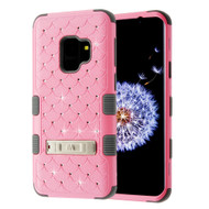 Military Grade Certified TUFF Diamond Hybrid Armor Case with Stand for Samsung Galaxy S9 - Pearl Pink Iron Grey