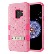 Military Grade Certified TUFF Diamond Hybrid Armor Case with Stand for Samsung Galaxy S9 - Pink